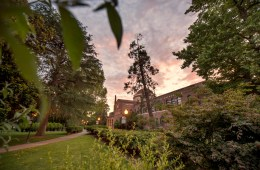 Photo of Kendall Hall at sunset.