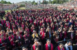 Graduating students sit during their Commencement ceremonies.