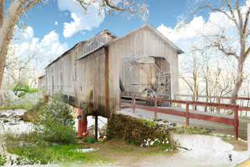 A screenshot of video showing virtual reality rendering of the Honey Run Covered Bridge,.