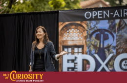 Cawa Tran speaks on stage at ED X Chico