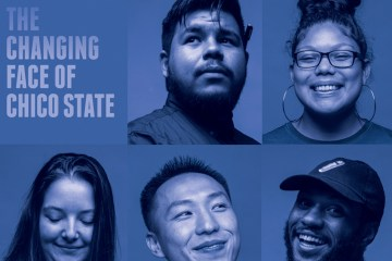 "An illustration depicting five student faces and the words ""The Changing Face of Chico State"""