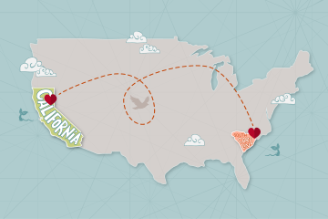 A map of the United States shows South Carolina and Chico connected by a heart in each state and a swirling dotted line between the two.