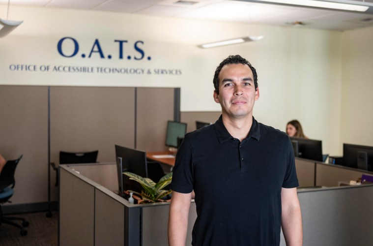 Portrait of Jeremy Olguin in the OATS office.