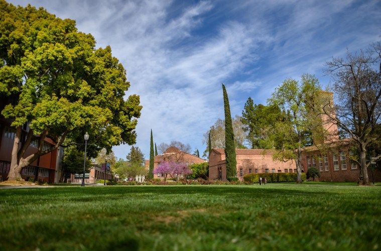 Blue skies and white clouds over the campus, with green grass and majestic trees.