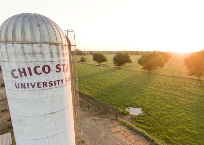 Chico State University Farm silo.
