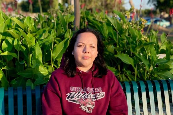 Portrait of Veronica Ramirez Nievez sitting on a bench