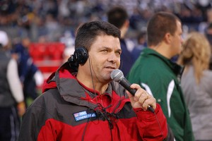 Kevin Nathan on the sidelines at Rentschler Field.