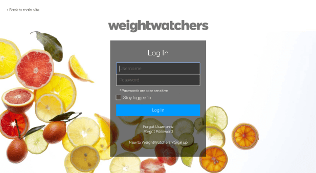weight watchers login page screenshot
