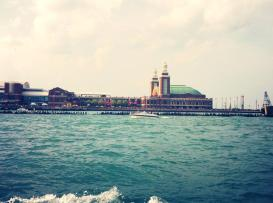 Navy Pier from Lake Michigan... see all the little people crowded getting ready for the 4th of July fireworks?!