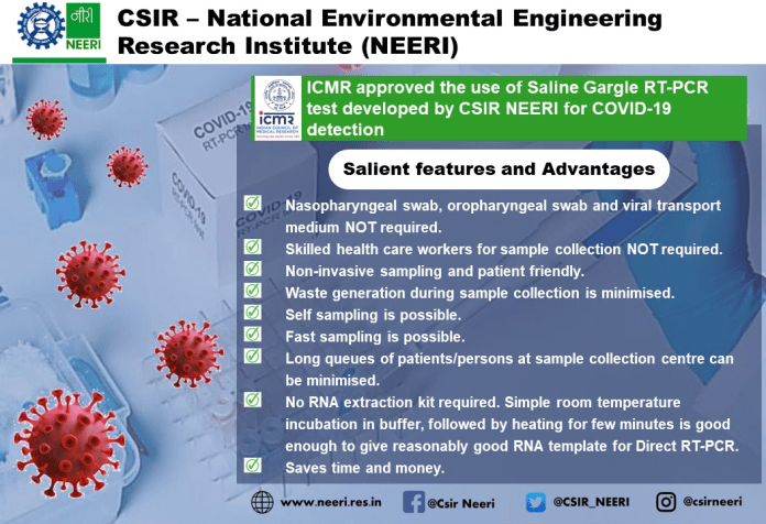 ICMR Approves the New Saline Gargle RT-PCR Testing Method, Gives Results in Three Hours
