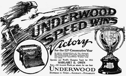 An Underwood ad from 1918, boasting about the company's perennial victories in typewriting competitions.
