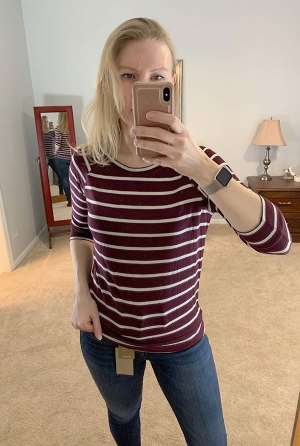 November Stitch Fix Try-On, Three Quarter Sleeve Raglan Knit Top by Mix by 41 Hawthorn