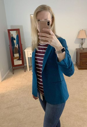 November Stitch Fix Try-On, Raja Collarless Blazer by Skies are Blue