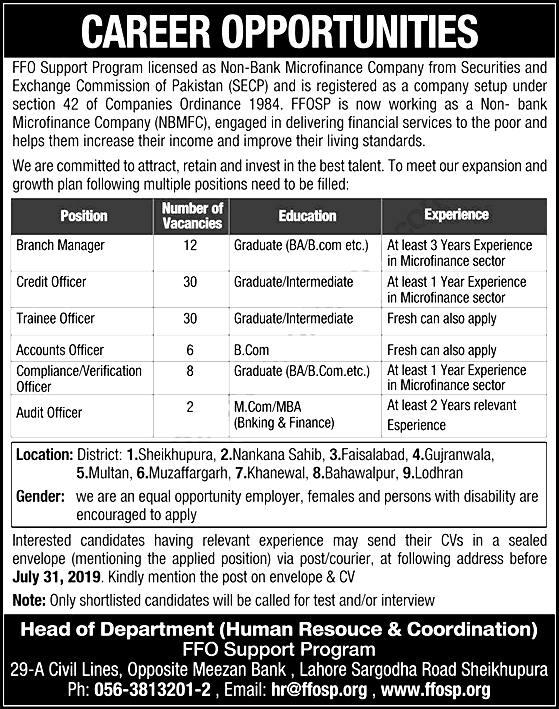 Punjab FFO Support Program Jobs 2019 Download Application Form