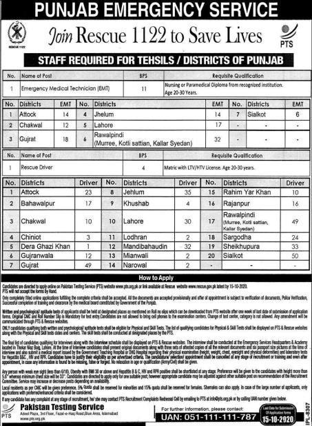 PTS Rescue 1122 Jobs 2020 in Punjab Application Form Download Test Syllabus 1