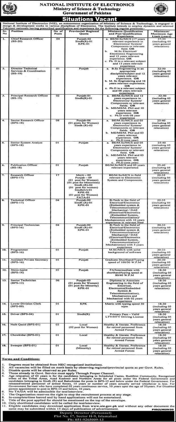 National Institute of Electronics Ministry of Science & Technology Jobs 2021