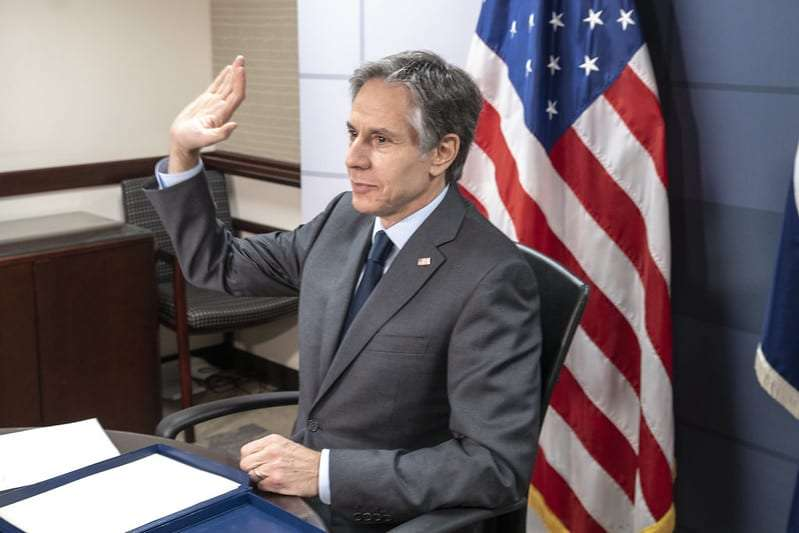 Secretary of State Antony J. Blinken participates in a roundtable discussion with Executive Women@State via video teleconference from the U.S. Department of State in Washington