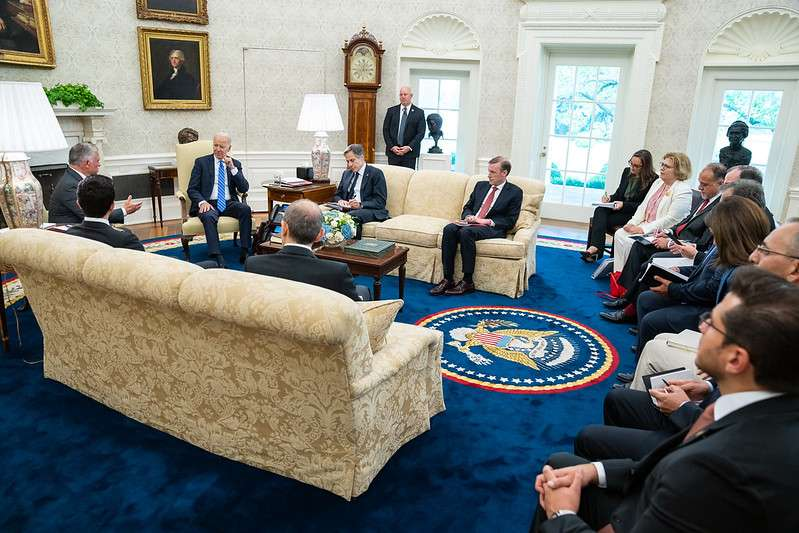 President Joe Biden participates in an expanded bilateral meeting on Monday