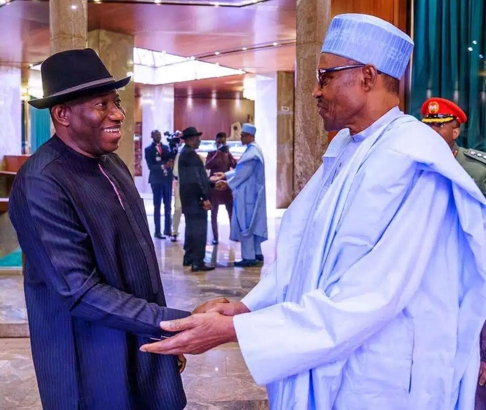 President Buhari receives Former President Goodluck Jonathan in State House on 30th Jan 2020