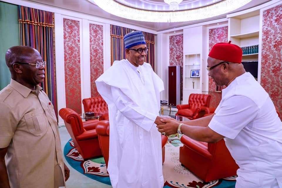 President Buhari receives Governor of Imo State Hope Uzodinma in State House on 30th Jan 2020 Hope Uzodinma 2: President Buhari with Imo State Governor Hope Uzodinma and APC National Chairman Adams Oshiomole during a meeting in State House on 30th Jan 2020