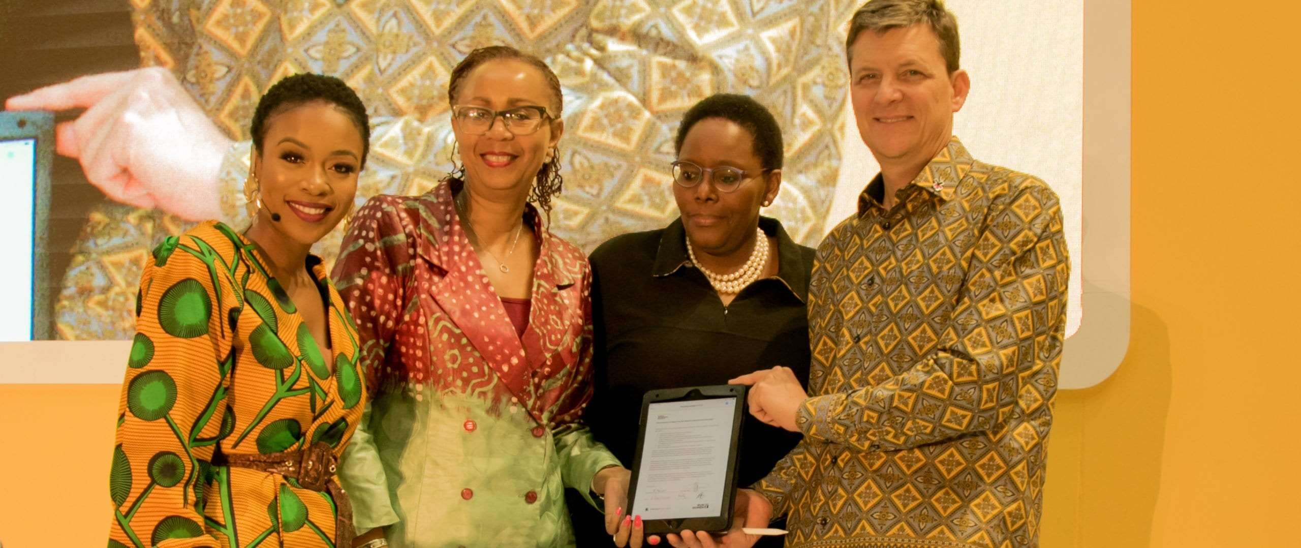 L-R: Nomzamo Mbatha - Human Rights Activist; Anne Githuku-Shongwe - Resident Director UN Women; Felleng Sekha - MTN Group Chief Regulatory and Corporate Affairs Officer; Rob Shuter - MTN Group President and CEO