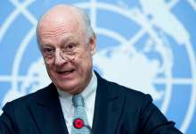 Staffan de Mistura, when he was United Nations Special Envoy for Syria speaks to the press on the Intra-Syrian Geneva Talks 2016. 25 January 2016. UN Photo / Jean-Marc Ferré