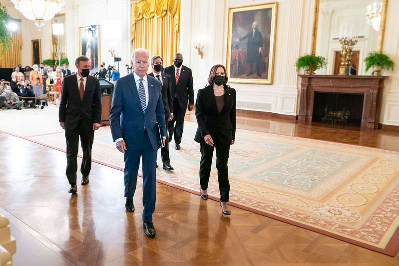 President Joe Biden, joined by Vice President Kamala Harris, Secretary of State Antony Blinken, Secretary of Defense Lloyd Austin and National Security Adviser Jake Sullivan, depart after delivering remarks about the situation in Afghanistan, Friday, August 20, 2021, in the East Room of the White House. (Official White House Photo by Lawrence Jackson)
