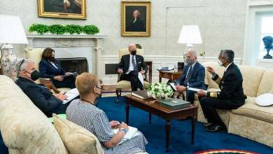 President Joe Biden meets with Vice President Kamala Harris and White House staff to review remarks he will deliver about COVID-19 vaccinations, Wednesday, August 18, 2021, in the Oval Office of the White House. (Official White House Photo by Erin Scott)