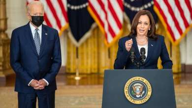 President Joe Biden looks on as Vice President Kamala Harris delivers remarks on the passing of the bipartisan Infrastructure Investment and Jobs Act, Tuesday, August 10, 2021, in the East Room of the White House. (Official White House Photo by Adam Schultz)