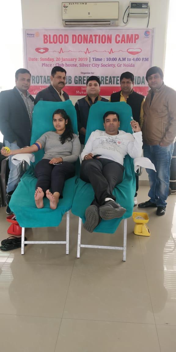 रोट्री क्लब ग्रेटर नोएडा ने किया रक्तदान शिविर का आयोजन