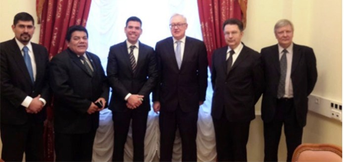 Laureano Ortega (center left) led the Nicaraguan delegation to Moscow, where they met with Russian counterparts led by deputy Foreign Minister Sergei Ryabkov (center right)