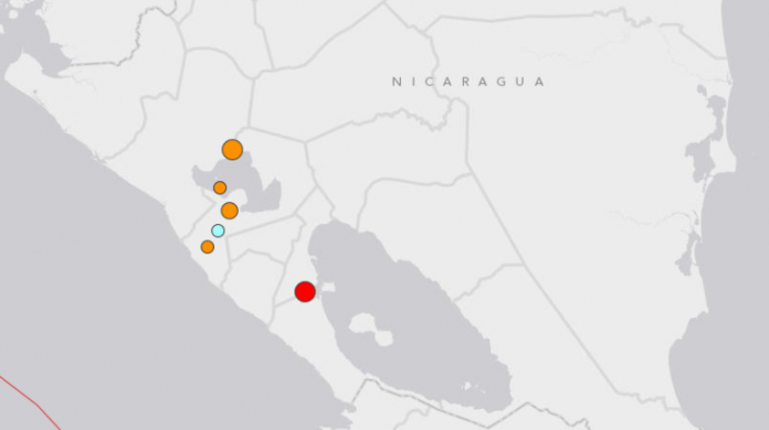 Red marks the spot of the latest earthquake, registering a magnitude of 6.6