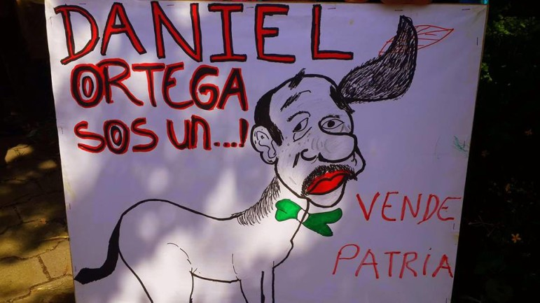 Protest sign carried by a resident of Ometepe Last Friday's march against the canal on Ometepe
