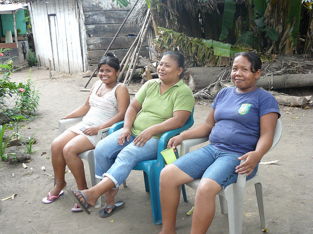 María del Rosario Gutiérrez (centre), with her daughter María and another member of the Association of Women Recyclers of Altagracia, Francis Socorro Hernández, rest after a day collecting and processing garbage on the island of Ometepe, in Nicaragua. Credit: José Adán Silva/IPS