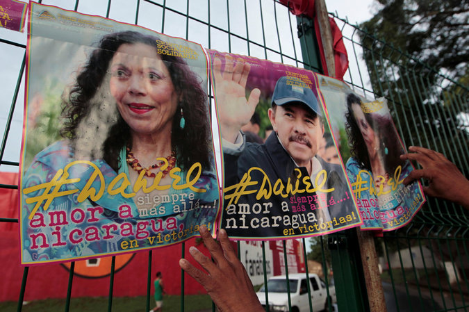 Campaign posters for Ms. Murillo, a vice presidential candidate, and her husband, President Daniel Ortega, in Masaya, Nicaragua. Credit Oswaldo Rivas/Reuters