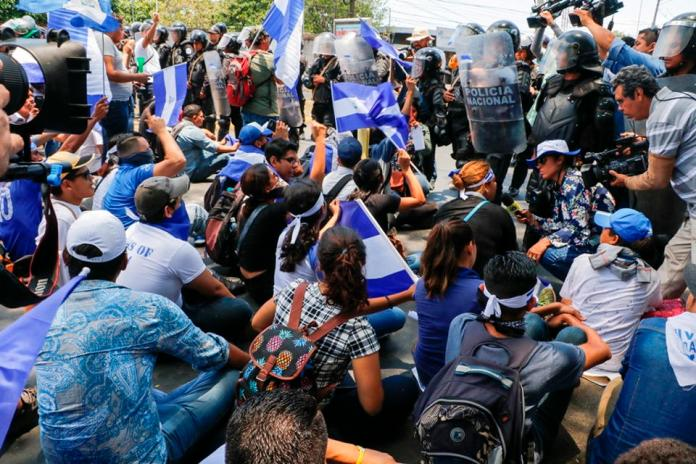 Antimotines (Riot Police) Block March Protesting Nicaragua Government