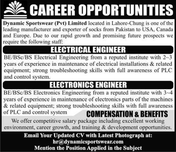 Career Available In Dynamic Sportswear Pvt