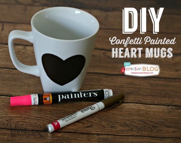 DIY Confetti Painted Heart Mugs | TodaysCreativeBlog.net