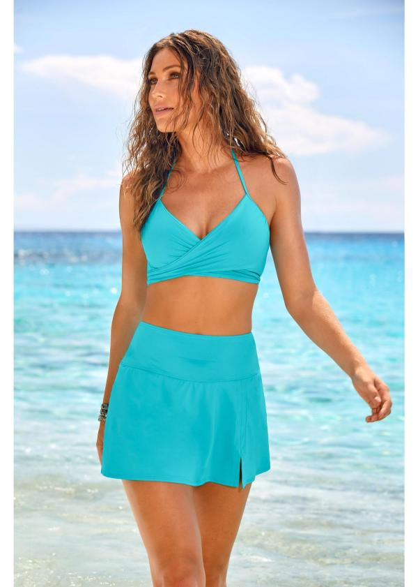 Turquoise Skirted two piece swimsuit