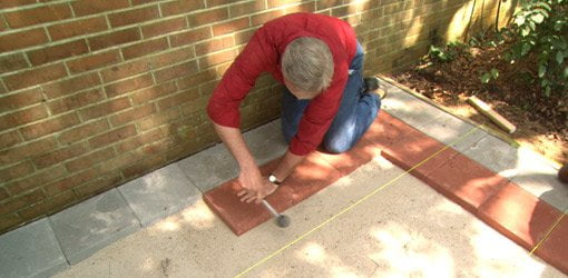 how to lay brick pavers on a concrete slab porch