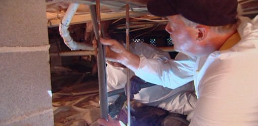 Insulating hot water pipes with foam insulation