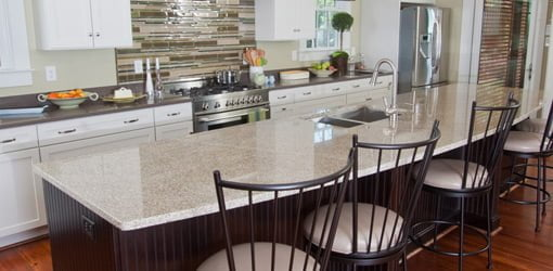 Granite kitchen countertops on island.