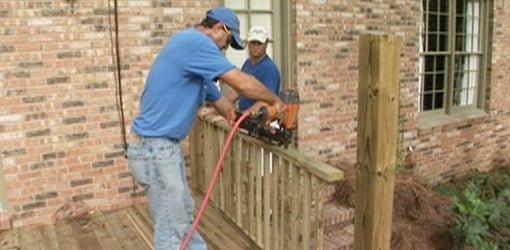 Constructing handrails for a wood deck.