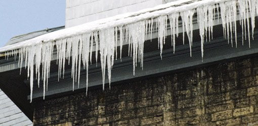 Ice on a home roof