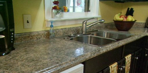 Kitchen with new plastic laminate countertops.