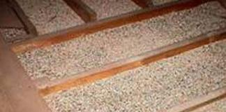 Vermiculite insulation in an attic