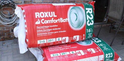 Batts of Roxul stone wool insulation.
