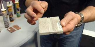 Flexible concrete caulking sample