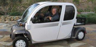 Danny Lipford driving an all electric car
