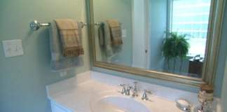Finished master bath vanity and mirror